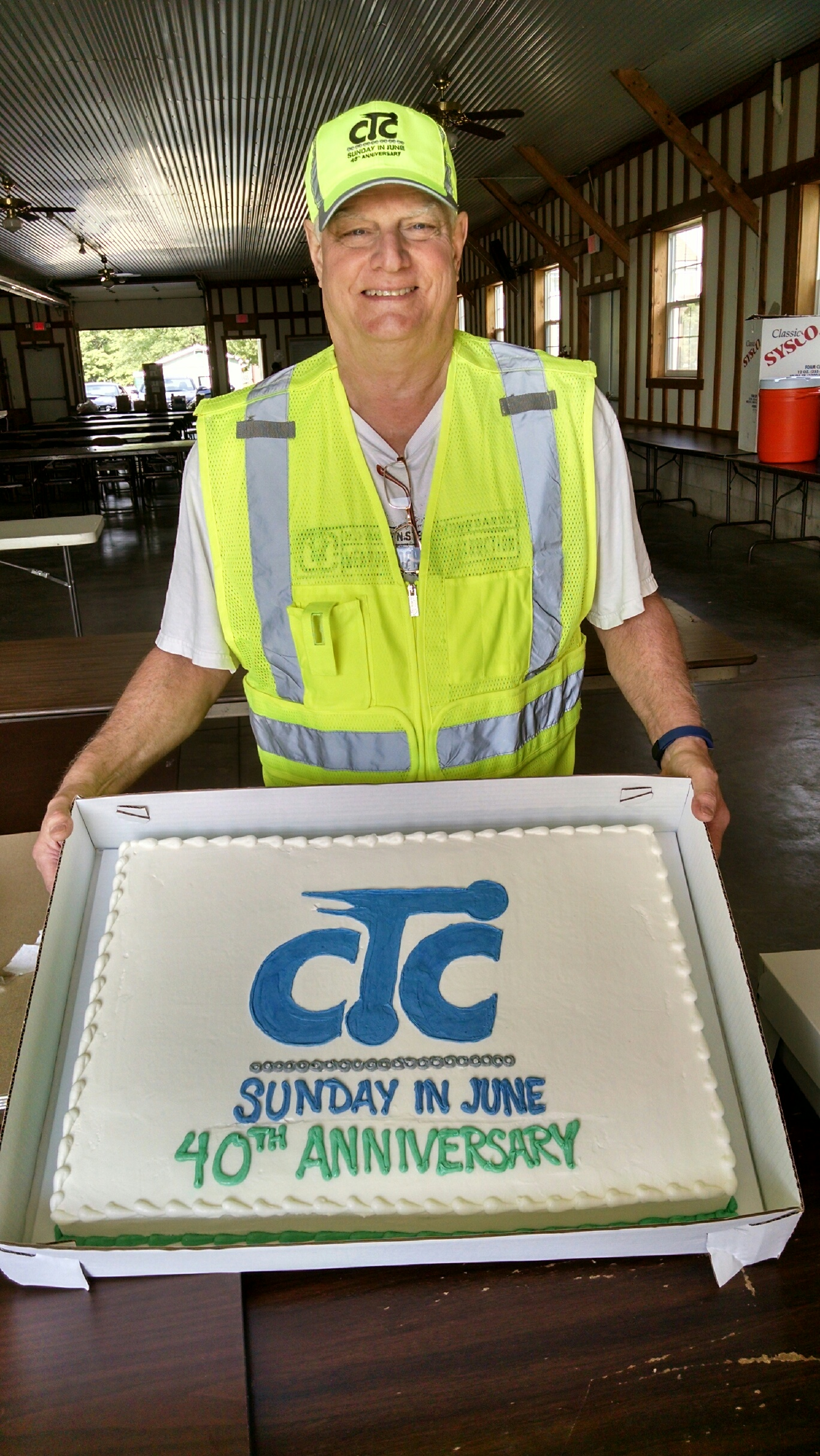 40th anniversary cake with ride director Ron Boetger